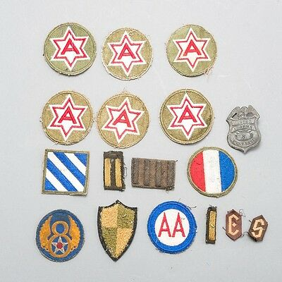 Lot of 15 WWII United States US Military Army & Air Force Patches + Bonus Pin!