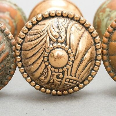 Set of 7 Matching Antique Art Nouveau Brass & Bronze Corbin Roanoke Doorknobs