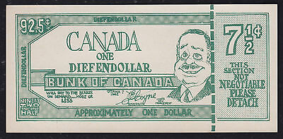 One Diefendollar - Bunk of Canada - Approximately One Dollar - Funny Money Note