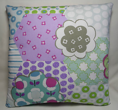 Handmade cushion cover for a child's bedroom or playroom. 15.5 inches square.