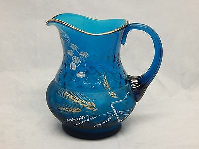 Vintage Turqouise Glass Hand Painted Pitcher Applied Handle