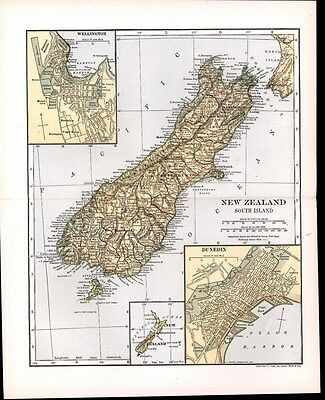 New Zealand South Island Dunedin City Plan 1911 vintage detailed color map