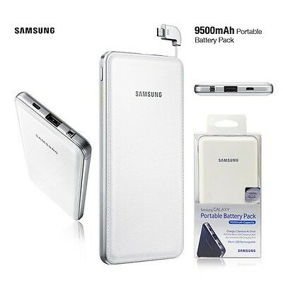 Samsung Portable Charger Battery 9500mAh Micro Cable + Universal USB Port -White