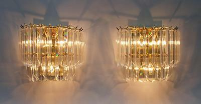 Pair Of Vintage Regency Venini Style Lucite Wall Sconces (Display Old Stock)