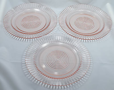 MacBeth Evans Pink Petalware Depression Glass 3 Dinner Plates 9 Inch