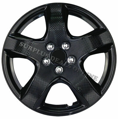 """Premium Wheel Covers 15"""" Ice Black and Carbon Finish - SET OF 4 (#998IBCBN)"""