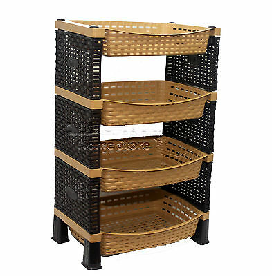 Raddan HQ 4 Tier Plastic Fruit Vegetable Kitchen Storage Rack Trolley LB-S