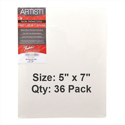 "Fredrix Stretched Canvas, 5"" x 7"", 36 PACK, Artist Series Red Label"
