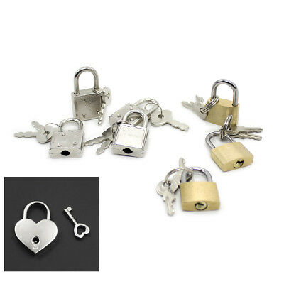 1PC Mini Padlock SILVER or Brozen COLOR Small Tiny Box Lock with Keys heart