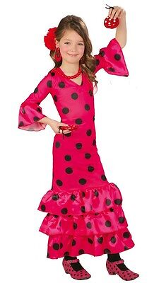 Girls Pink Flamenco Spanish Dancer Polka Dot Fancy Dress Costume Outfit 3-12 yrs