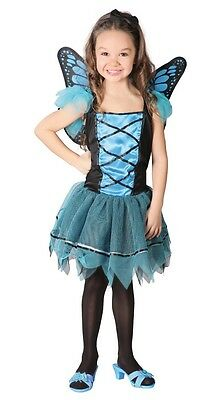 Girls Blue Butterfly Fairy Animal Insect Book Day Fancy Dress Costume Outfit