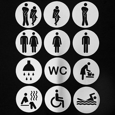 Stainless steel metal door signs for bathrooms, toilets, hotels /circle-shaped/