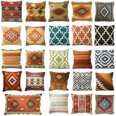 Kilim Cushion Cover Indian Handwoven Wool Cotton Sofa Home Decor Floor Design
