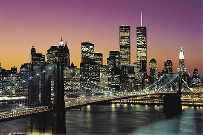 BROOKLYN BRIDGE POSTER - 24x36 CITYSCAPE SKYLINE NYC NEW YORK CITY 2005