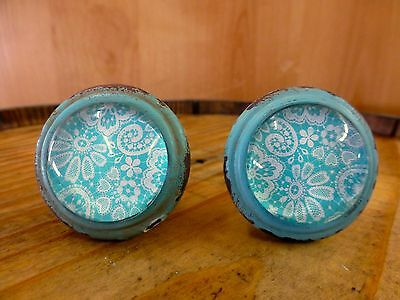 2 BLUE-WHITE LACE GLASS DRAWER CABINET PULLS KNOBS VINTAGE DISTRESSED hardware
