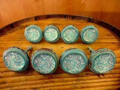 8 BLUE-WHITE LACE GLASS DRAWER CABINET PULLS KNOBS VINTAGE DISTRESSED hardware