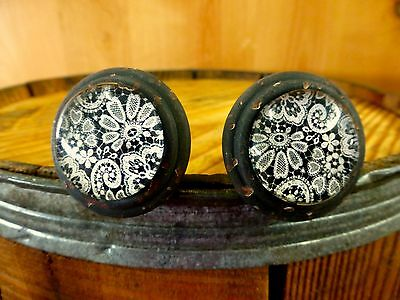 2 BLACK-WHITE LACE GLASS DRAWER CABINET PULLS KNOBS VINTAGE DISTRESSED hardware