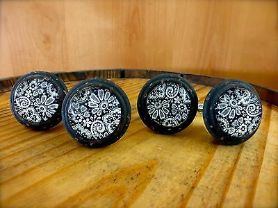 4 BLACK-WHITE LACE GLASS DRAWER CABINET PULLS KNOBS VINTAGE DISTRESSED hardware