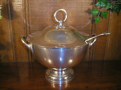 ANTIQUE Silver Plated DIXON SOUP/PUNCH TUREEN with LID and LADLE