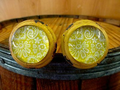 2 YELLOW-WHITE LACE GLASS DRAWER CABINET PULLS KNOBS VINTAGE DISTRESSED hardware