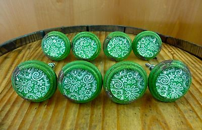 8 GREEN-WHITE LACE GLASS DRAWER CABINET PULLS KNOBS VINTAGE DISTRESSED hardware