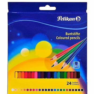 Pelikan 24 Pcs Painting Assorted Color Soft Thin Pencils Hexagonal New Boxed