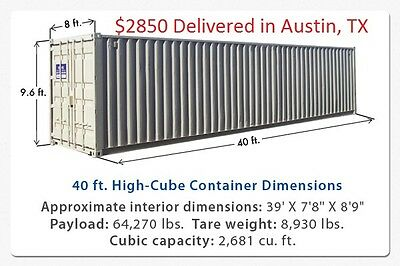 Used 40' High Cube Steel Storage Container Shipping Cargo Conex Seabox Austin TX