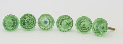 Lot of 6 Lucite Faceted Drawer Pulls Green