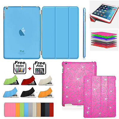 Bling Magnetic Leather Smart Case+Hard Plastic BACK Cover For Apple iPad 2 3 4