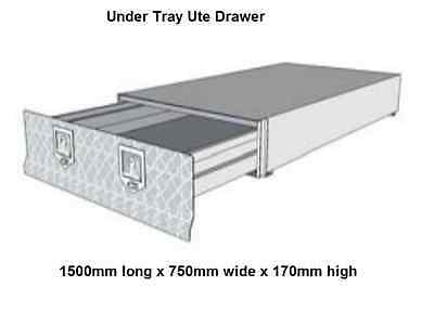 Under Tray Tool Box Trundle Drawer 1500mm Ute Roller Drawer