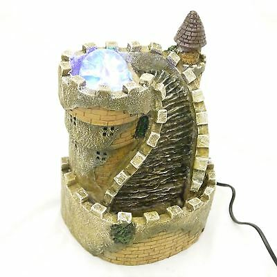 Indoor Castle Table Top Waterfall Water Feature Coloured LED Light 10034
