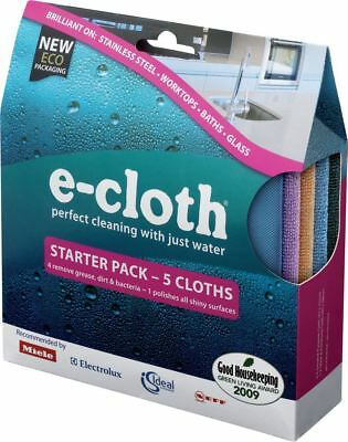 E-Cloth Ecloth Starter Pack Of 5 Cloths Cleaning & Glass Polishing Baths