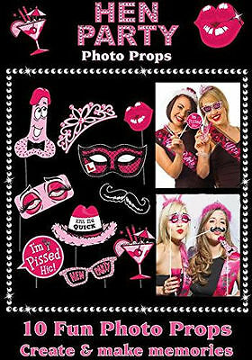 10 Piece Fun Hen Party Pink Photo Props NEW