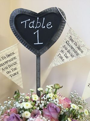 SECONDS Chalk Board Heart Metal Stake Chic Wedding Table Place Name Plant Marker