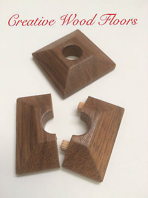 x 2 Pyramid Walnut Lacquered Pipe Covers / Rad Rings