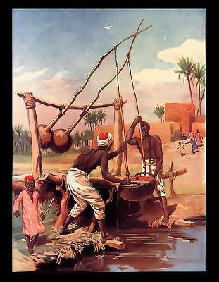 "Antique 1916 ""Egyptian Water Well"" Egyptian Family Culture Book Page Art Print"