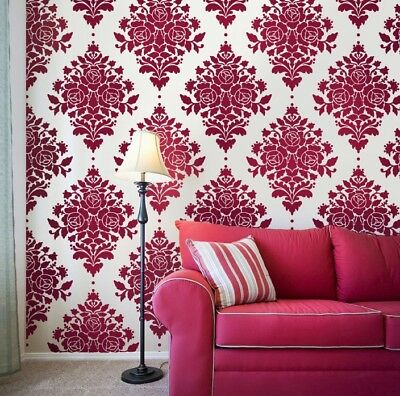 Rose Stencil Damask - Reusable Wall Stencils for DIY