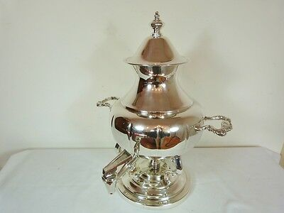 MELLON SHAPED TEA HOT WATER URN w BURNER #350 SILVER PLATE BY VICTORIAN PLATE