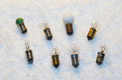 Lionel -Ives - A.  Flyer   8  Minature Bulbs Clear - Green - White