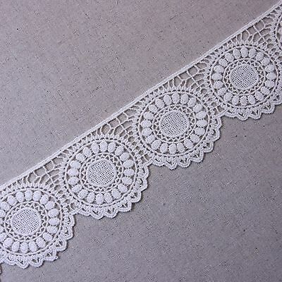 "Lovely Circle Embroidery Cotton Scalloped Tulle Lace 2.2""(5.5cm) Wide Ivory 1Yd"