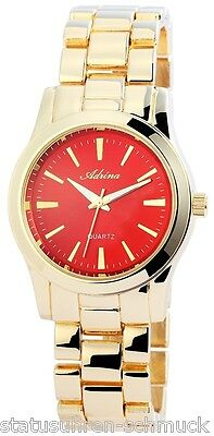Golden/red Modeuhr Ladywatch Mädchenclock Damen Gliederbanduhr