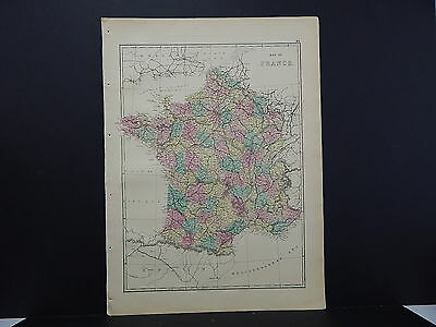 Antique Map, 1875, Europe, France