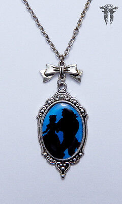 Beauty and the Beast Inspired Silhouette Cameo Necklace Blue & Black Dancing