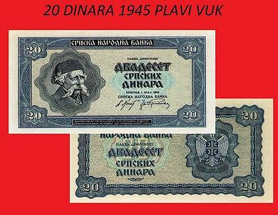 Serbia 20 dinara 1945. blue wolf UNC - Reproductions