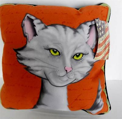"""Grey Cat Pillow 12"""" Sq Artsy Print """"Purrfect Poses""""  Kitty Made USA NWT"""