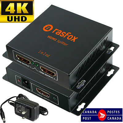 Powered 4K HDMI Splitter 1X2 1 in 2 out Repeater Amplifier 1080p, Connect 2 TVs