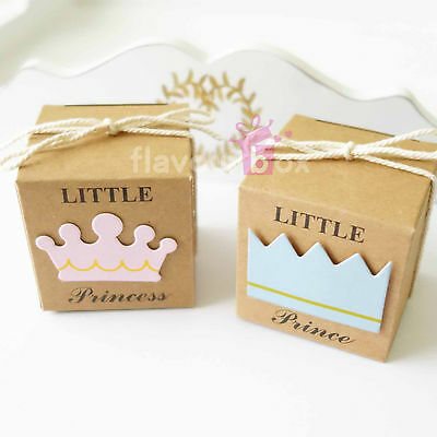 20x Little Prince or Princess Favour Boxes Baby Shower Birthday Bomboniere Gift