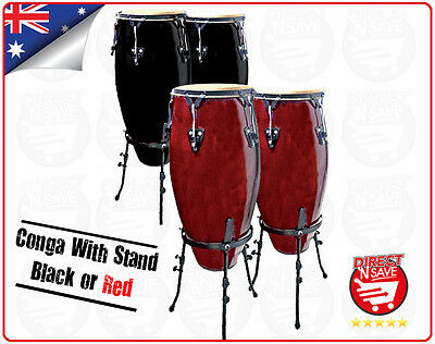 Conga w/ Stand Black/Red PAIR Hand Drum Percussion Instrument Congas Congo CFC-1