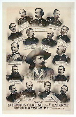 Generals of the US Army which Buffalo Bill Cody Served, Modern Military Postcard