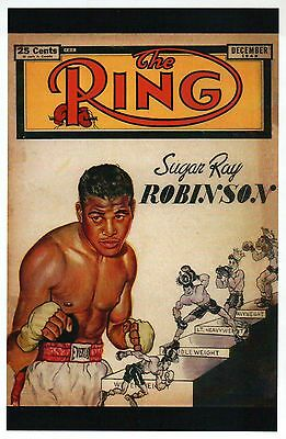 Boxer Sugar Ray Robinson, The Ring Magazine Cover Image Boxing - Modern Postcard
